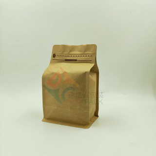 250g Foil Valve Kraft Flat Bottom Pouch with Pocket Zipper for Coffee in Stock