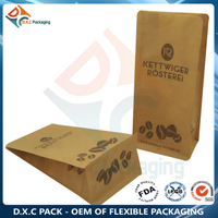 Kraft Paper Bottom Coffee Bag with Valve And Zipper