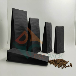Box bottom black kraft coffee bags with valve