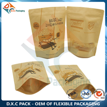 Kraft Window Paper Bag With Zipper For Snack Packaging