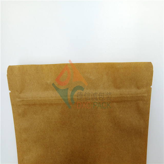 Eco friendly craft paper stand up pouch with window for dry food