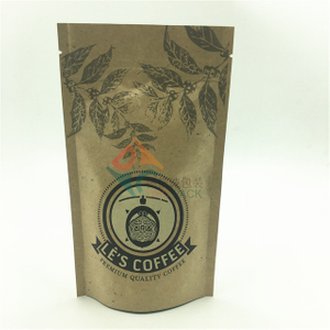Custom Kraft Paper Coffee Bags Zip Closure Stand Up Pouches for Food Packaging