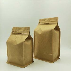 Natural Kraft Flat Bottom Coffee Bags with Pocket Zipper