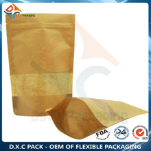 Laminated Kraft Paper Bags For Food With Clear Customized Window Zip Lock Stand Up Pouch
