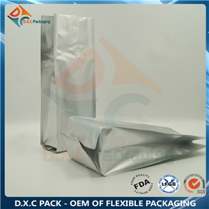 Silver Aluminum Foil Quad Sealed Coffee Bag with One-way Degassing Valve