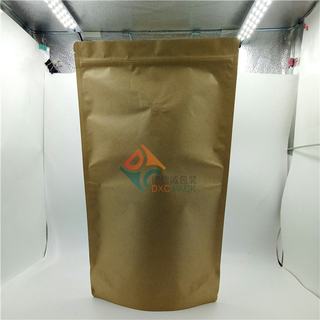 Brown Kraft Paper Zip Closure Stand Up Pouches with Valve for Snack Food Grain Health Food Packaging
