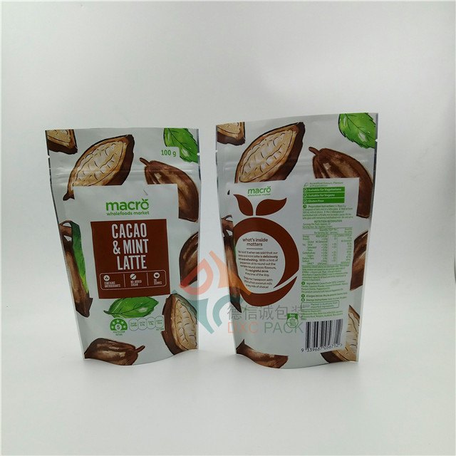 Custom zipper foil stand up bag pouch for food packaging