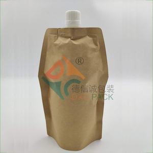 Kraft paper stand up pouch with spout for food packaging bags