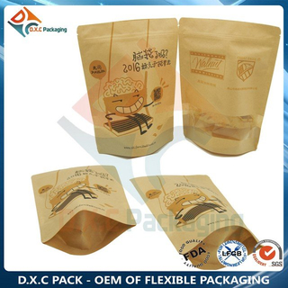 Oatmeal Food Packaging Bag Kraft Paper Zipper Stand Up Pouches with Custom Window