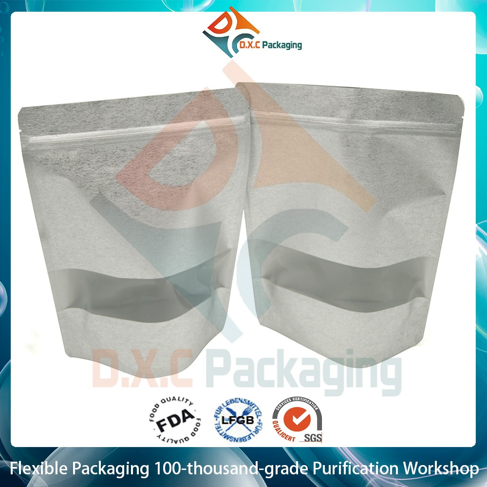 1oz, 2oz, 4oz, 8oz, 16oz Printing Rice Paper Stand Up Pouches with Window And Ziplock for Snack