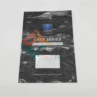 Custom Printing Matellized Frozen Seafood Packaging with Window and Ziplock