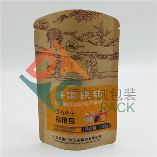 Printed Kraft Paper Stand up Shaped Pouches For Cereal Packaging