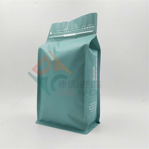 Box Bottom Metallized Coffee Bags with Pocket Zipper