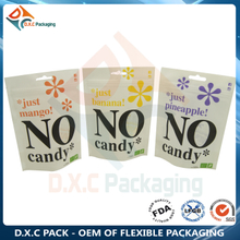 Snack Food Candy White Kraft Paper Zipper Stand Up Bag with Customized Window