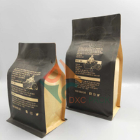 Flat Bottom Brown kraft coffee bags with Front Zipper