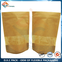Customized Window Zipper Stand Up Pouch Kraft Paper Pouch For Food