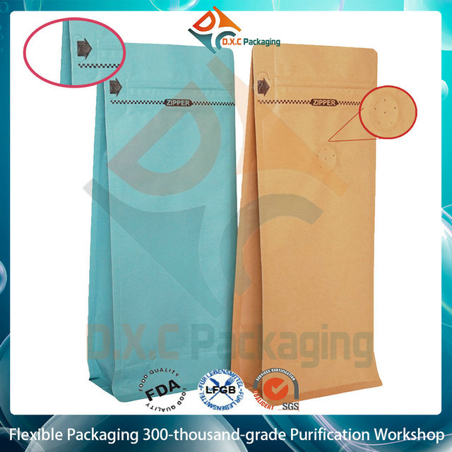 Flat Bottom Bleached Kraft Paper Bags For Coffee Packaging