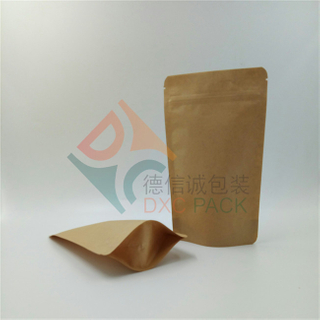 100% Biodegradable Brown Kraft Paper Stand Up Zipper Bags