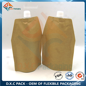 Kraft paper stand up shaped bag spout pouch for liquid packaging