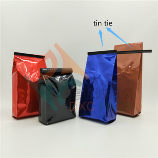 Tin Tie Mayer Corner Seal Side Gusset Coffee Bags with Wipf Valve