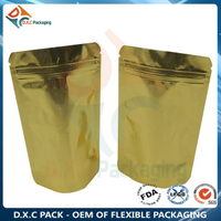 Clear GoldAluminum Foil Stand Up Pouches with Zip Closure for Whey Protein Health Food Packaging
