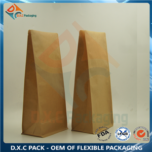 Brown Kraft Paper Flat Bottom Pouch with Valve For Coffee Packaging