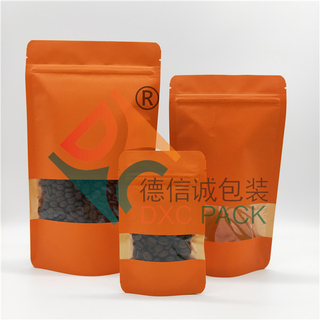 Printed kraft resealable pouches stand up zipper bag with window