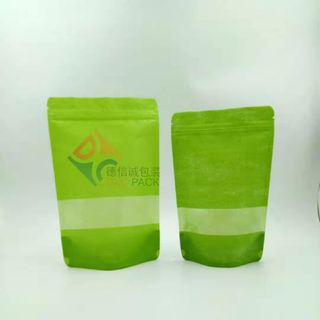 Custom Printed Zipper Stand Up Whey Protein Food Packaging Paper Bags with Clear Window 250ml